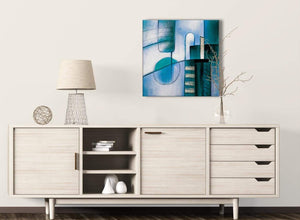 Teal Cream Painting Living Room Canvas Pictures Decor - Abstract 1s417m - 64cm Square Print