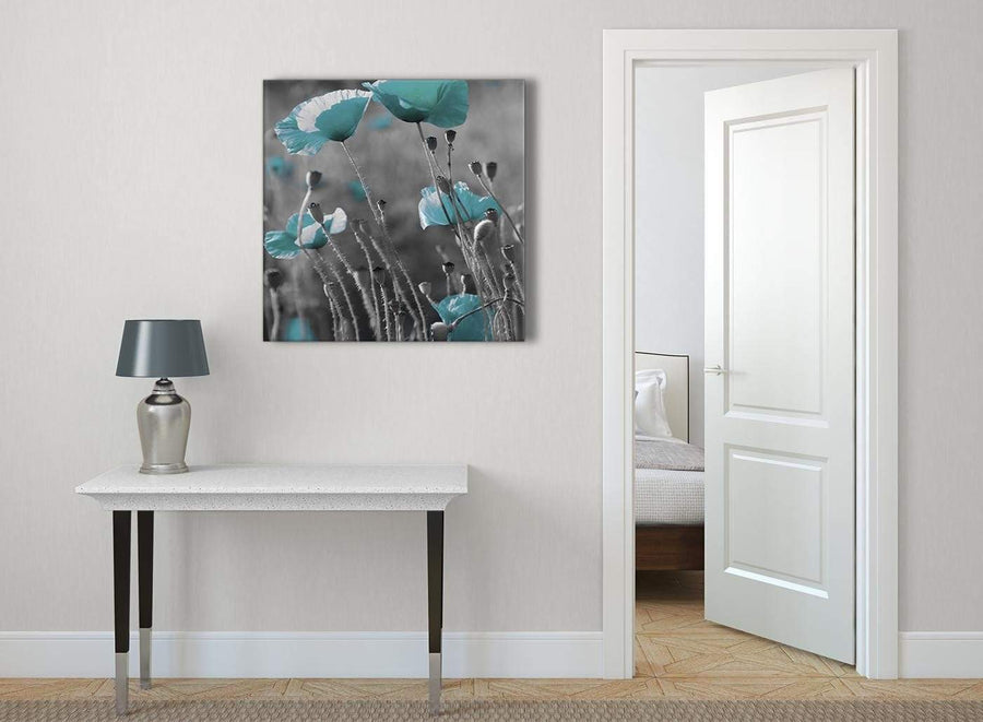 Teal Poppy Grey Poppies Flower Floral Abstract Bedroom Canvas Wall Art Accessories 1s139l - 79cm Square Print