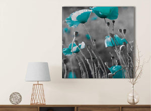 Teal Poppy Grey Poppies Flower Floral Kitchen Canvas Pictures Accessories - Abstract 1s139s - 49cm Square Print