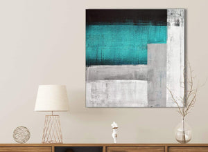 Teal Turquoise Grey Painting Kitchen Canvas Pictures Accessories - Abstract 1s429s - 49cm Square Print