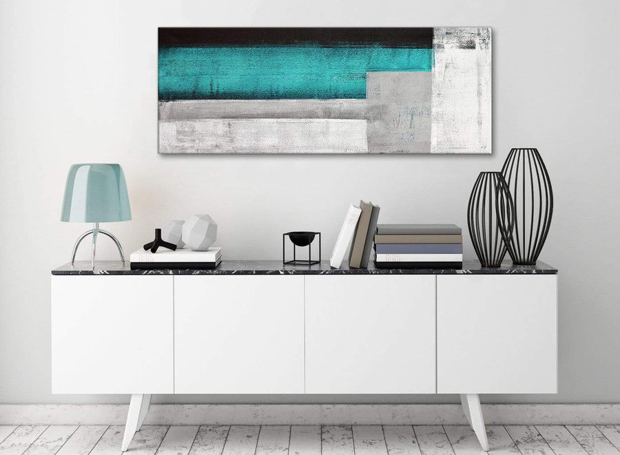 Teal Turquoise Grey Painting Bedroom Canvas Pictures Accessories - Abstract 1429 - 120cm Print