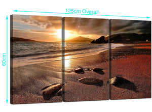 Set of Three Beach Sunset Canvas Prints UK 125cm x 60cm 3131