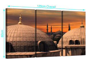 3 Panel Blue Mosque Istanbul Skyline Canvas Pictures 125cm x 60cm 3192