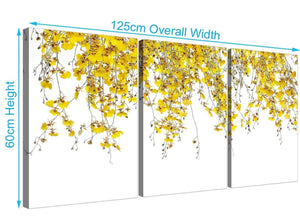 three panel orchids canvas wall art yellow 3263