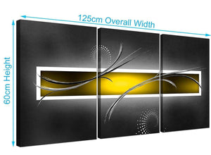 three part abstract canvas prints yellow grey 3259