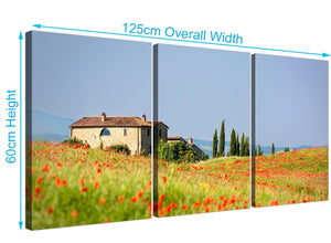 three part floral tuscan hills canvas prints green 3233