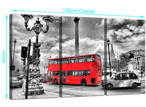 3 Part English London Bus Canvas Pictures 125cm x 60cm 3210