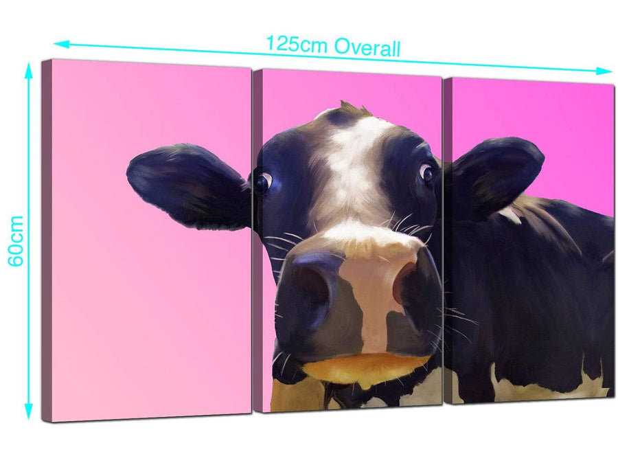 Set of 3 Funky Cow Canvas Pictures 125cm x 60cm 3151