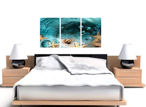 Triptych teal seaside starfish canvas prints uk 3253