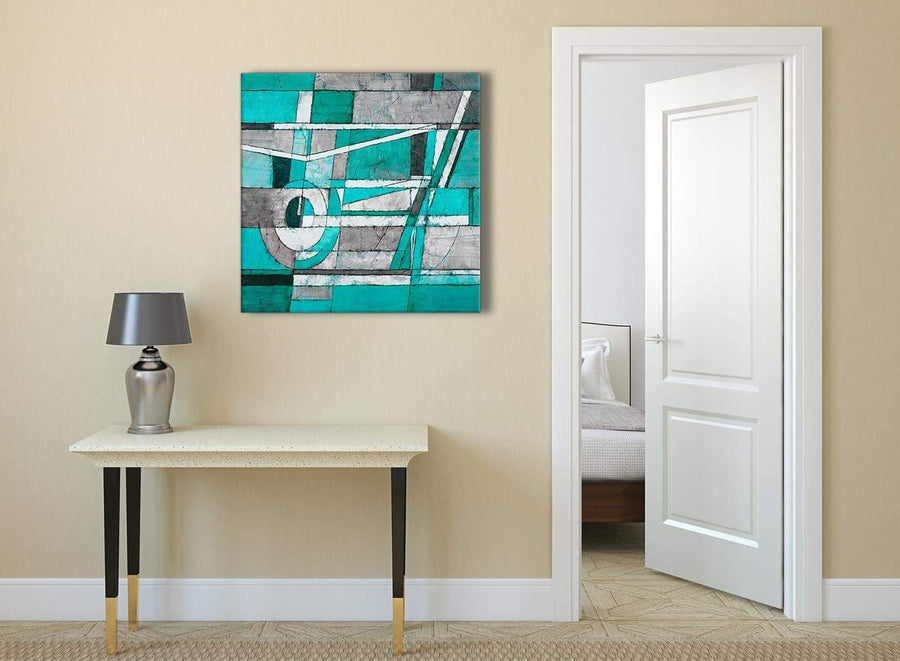 Turquoise Grey Painting Abstract Hallway Canvas Wall Art Accessories 1s403l - 79cm Square Print