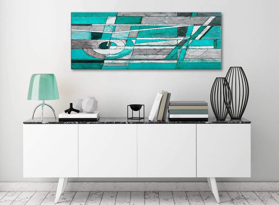 Turquoise Grey Painting Living Room Canvas Wall Art Accessories - Abstract 1403 - 120cm Print