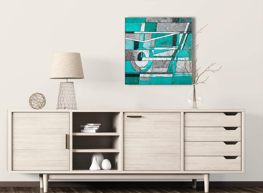 Turquoise Grey Painting Living Room Canvas Pictures Decorations - Abstract 1s403m - 64cm Square Print