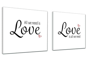 Canvas Pictures All we Need is Love Word Art - Word Art - 2s477s - 49cm Square Wall Art