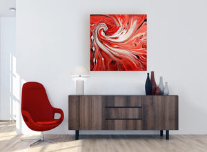 very large square red abstract swirl canvas wall art 1s265l