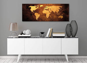 Vintage Old World Map - Brown Cream Canvas - Living Room Canvas Wall Art Accessories - Abstract 1188 - 120cm Print