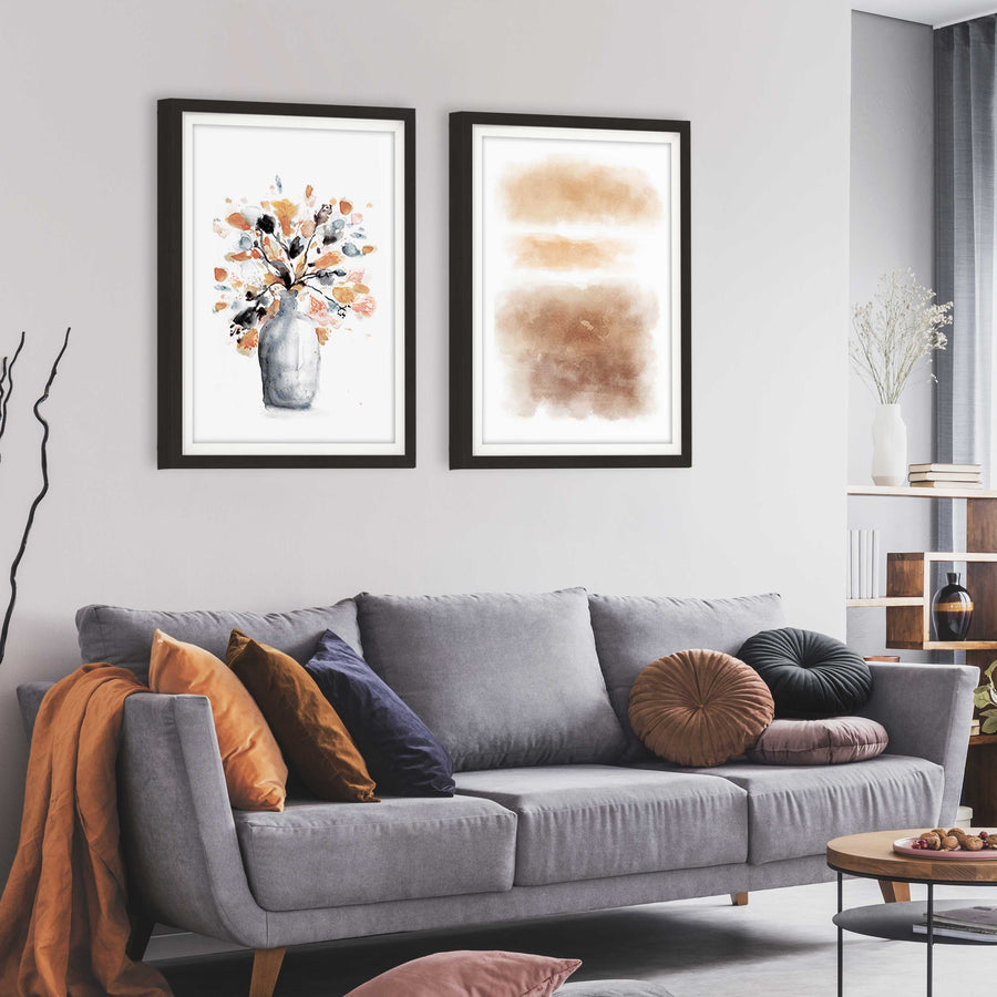 Framed Burnt Orange and Grey Floral Abstract Painting Above Sofa