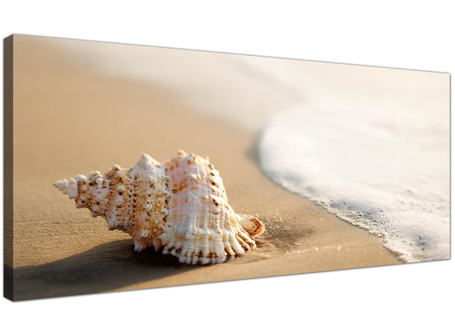 Contemporary Canvas Pictures Beige Seashell Panoramic 1146
