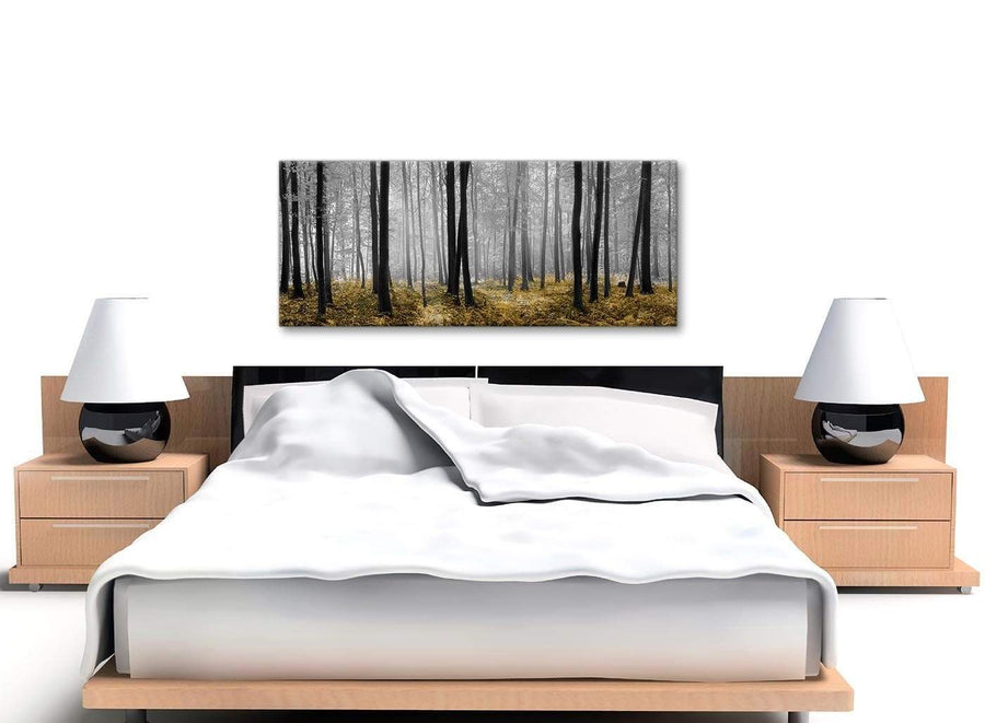 Yellow and Grey Forest Woodland Trees Living Room Canvas Pictures Accessories - 1384 - 120cm Print