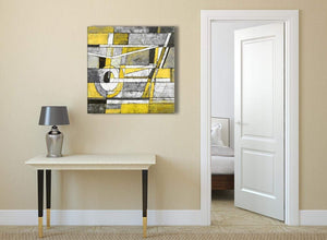 Yellow Grey Painting Abstract Bedroom Canvas Pictures Accessories 1s400l - 79cm Square Print