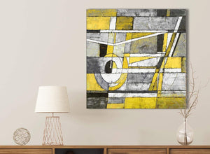 Yellow Grey Painting Bathroom Canvas Pictures Accessories - Abstract 1s400s - 49cm Square Print