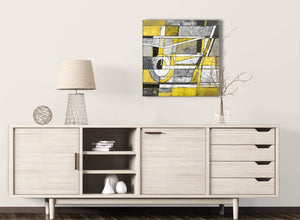 Yellow Grey Painting Living Room Canvas Wall Art Decor - Abstract 1s400m - 64cm Square Print