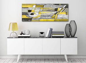 Yellow Grey Painting Living Room Canvas Pictures Accessories - Abstract 1400 - 120cm Print