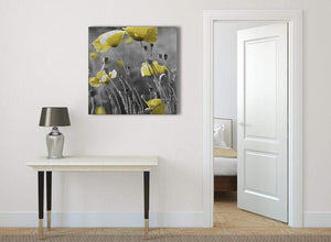 Yellow Grey Poppy Flower - Poppies Floral Canvas Abstract Hallway Canvas Pictures Decorations 1s258l - 79cm Square Print