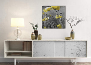 Yellow Grey Poppy Flower - Poppies Floral Canvas Hallway Canvas Pictures Decorations - Abstract 1s258m - 64cm Square Print