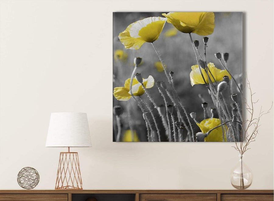 Yellow Grey Poppy Flower - Poppies Floral Canvas Bathroom Canvas Wall Art Accessories - Abstract 1s258s - 49cm Square Print