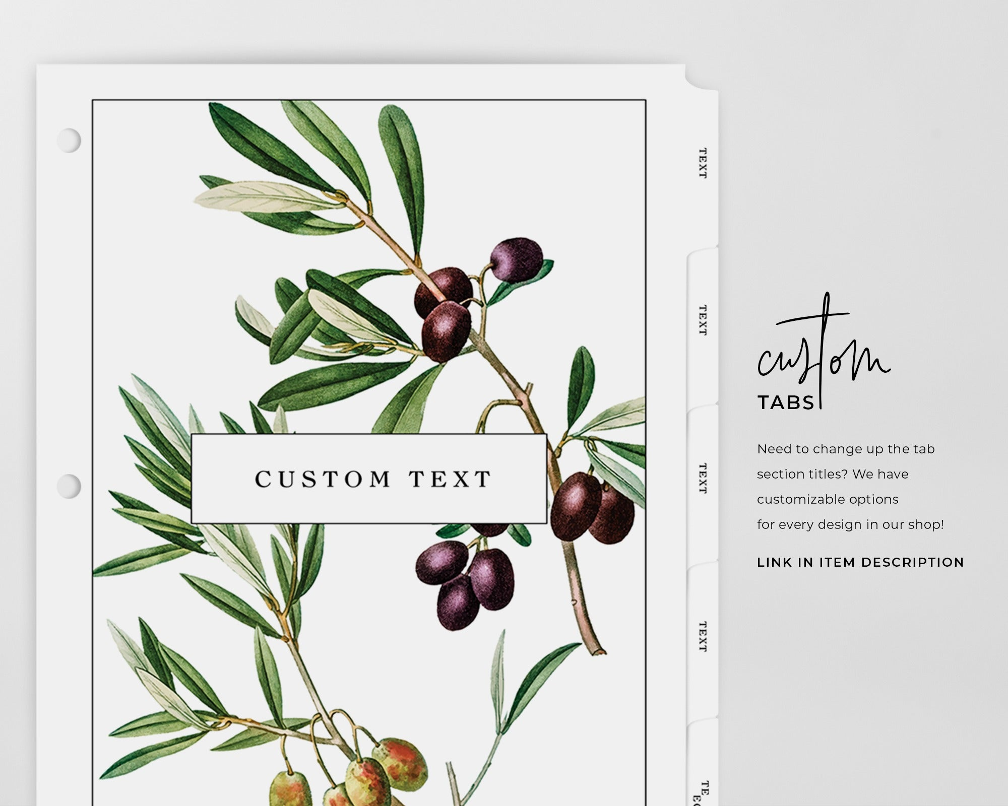 Recipe Binder Tabs - Botanical Olives