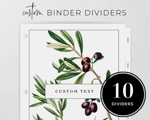 Custom Tab Dividers - Botanical Olives