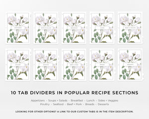 Recipe Binder Tabs - Botanical Roses