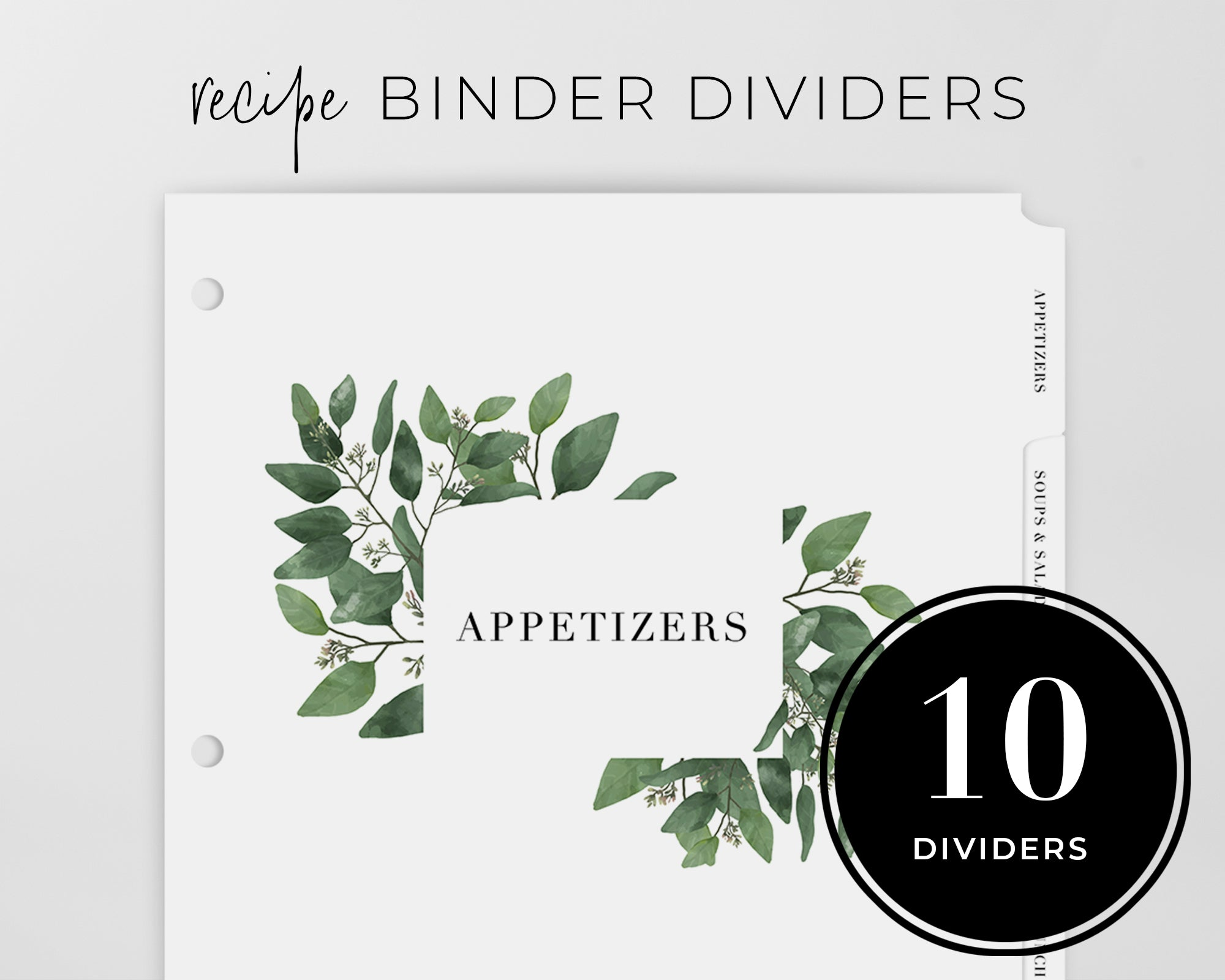 Recipe Binder Tabs - Eucalyptus