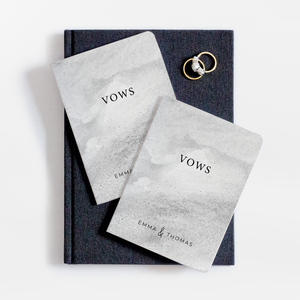 Grey Watercolor Wedding Vow Book Set