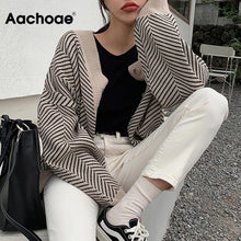 Load image into Gallery viewer, Knitted Striped Cardigan Sweater Women Fashion Patchwork Top Autumn Winter 2020 Long Sleeve Casual Outwears V Neck Buttons Coat