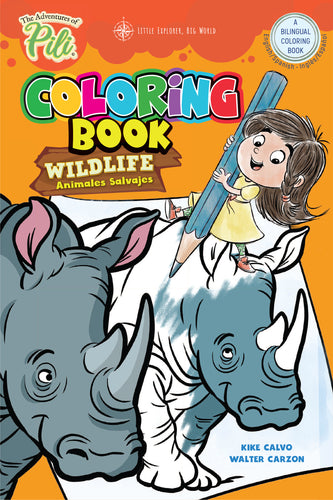 Instant PDF Download . Bilingual Coloring Wildlife Book  | 6×9
