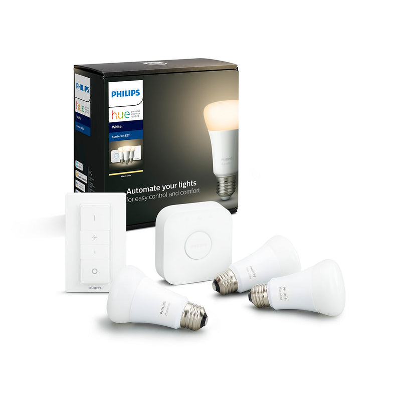 Philips Hue white startsætE27 3 lyskilder,1 bridge,1 switch, bluetooth