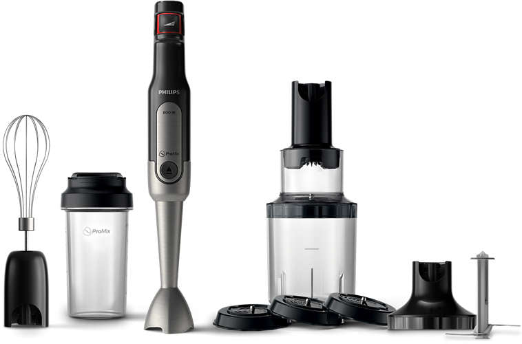 Philips HR2657/90 Stavblender ProMix SpeedTouch, 800W incl. XL chopper, Spiralizer, mixer tilbehør, On the Go flaske - Metal/sort