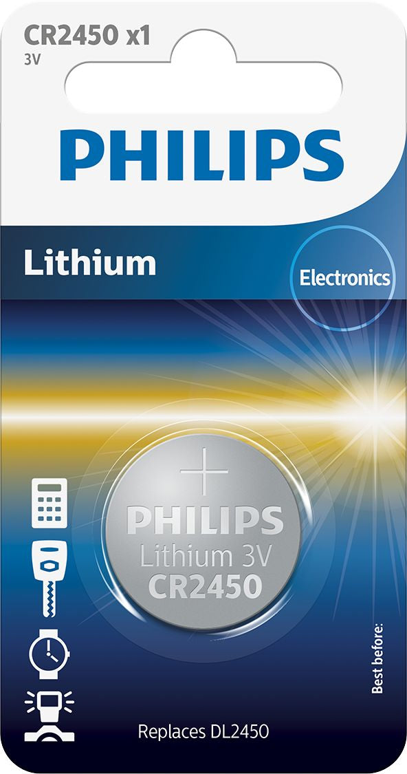 Philips CR2450/10B Lithium 3.0V coin 1-blister (24.5 x 5.0)