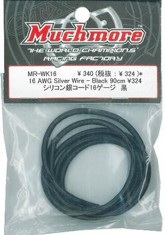 16 AWG Silver Wire - Black 90cm