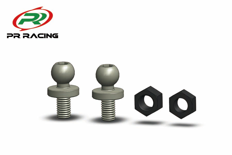 PR Racing 4.8mm X 4.8mm Ball Studs (2pcs) & M3 Nut (2pcs)