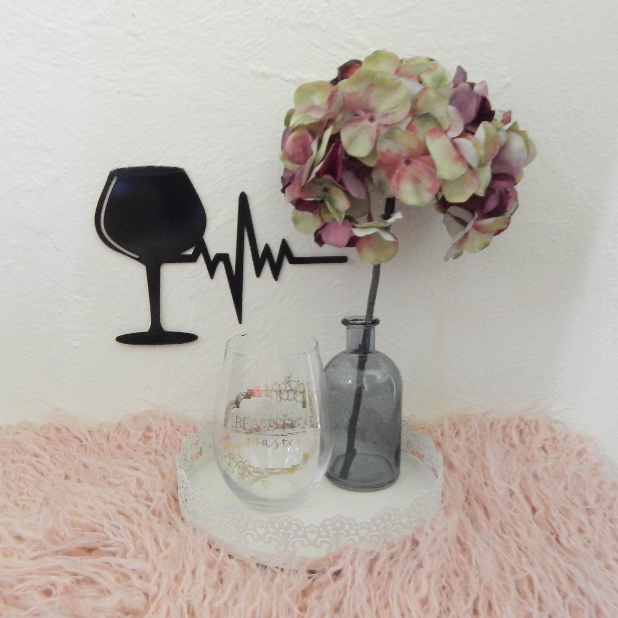 Wine Glass with Heartbeat - open spaces metal art