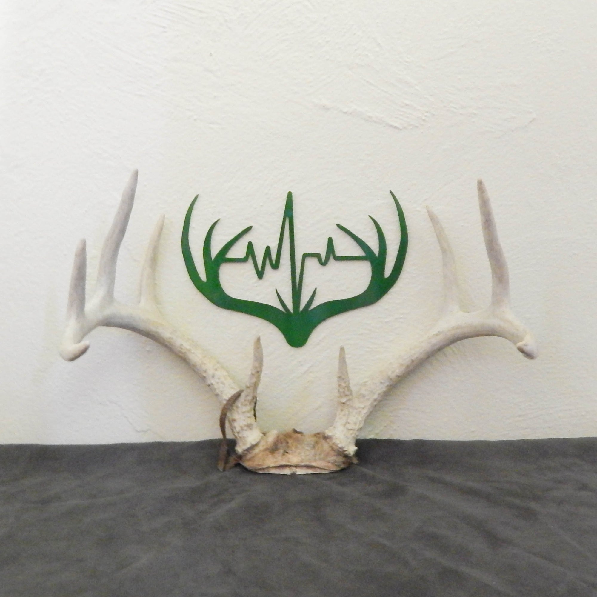 Antler with Heartbeat - open spaces metal art