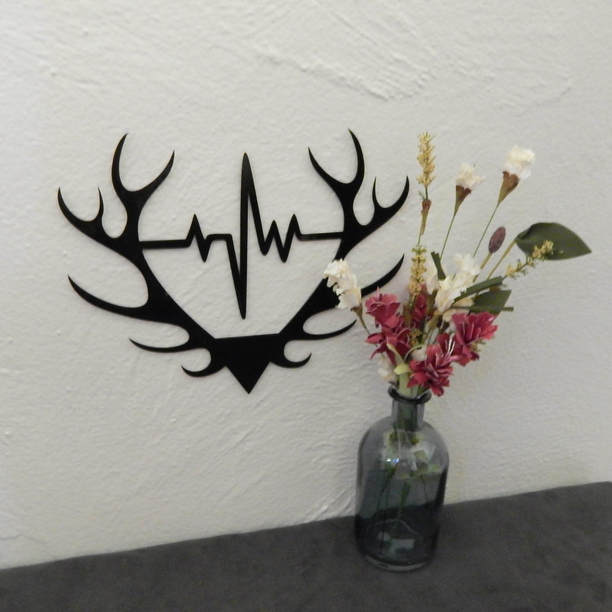 Elk Antler with Heartbeat - open spaces metal art
