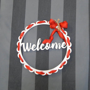 Scalloped Circle Wall Art-Welcome