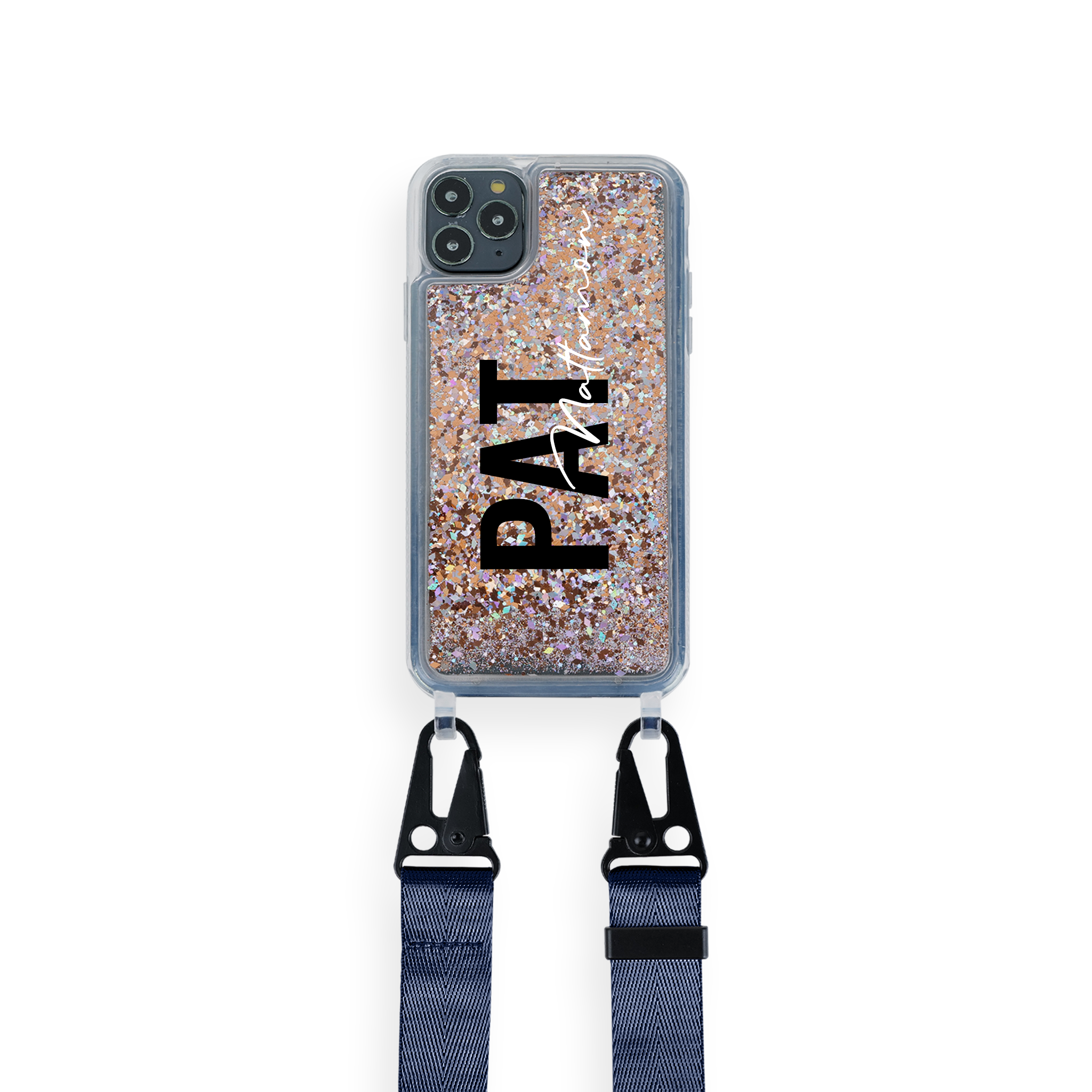 iPhone : Customised Glitter Case With Lanyard : 2 Tone Match