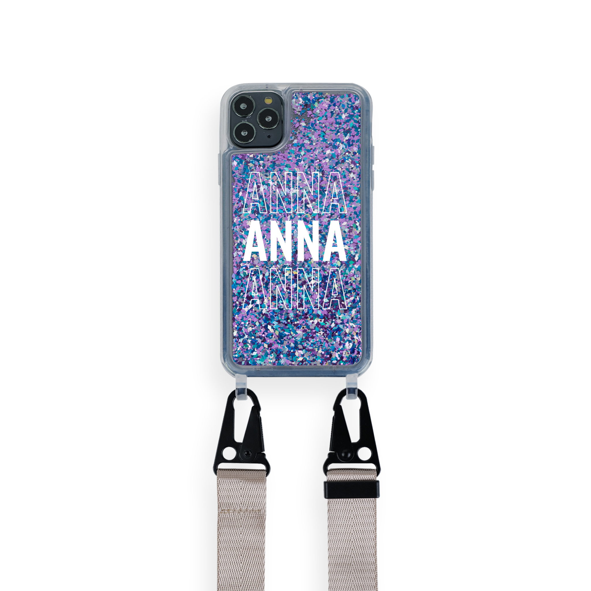 iPhone : Customised Glitter Case With Lanyard : Repeat Pattern
