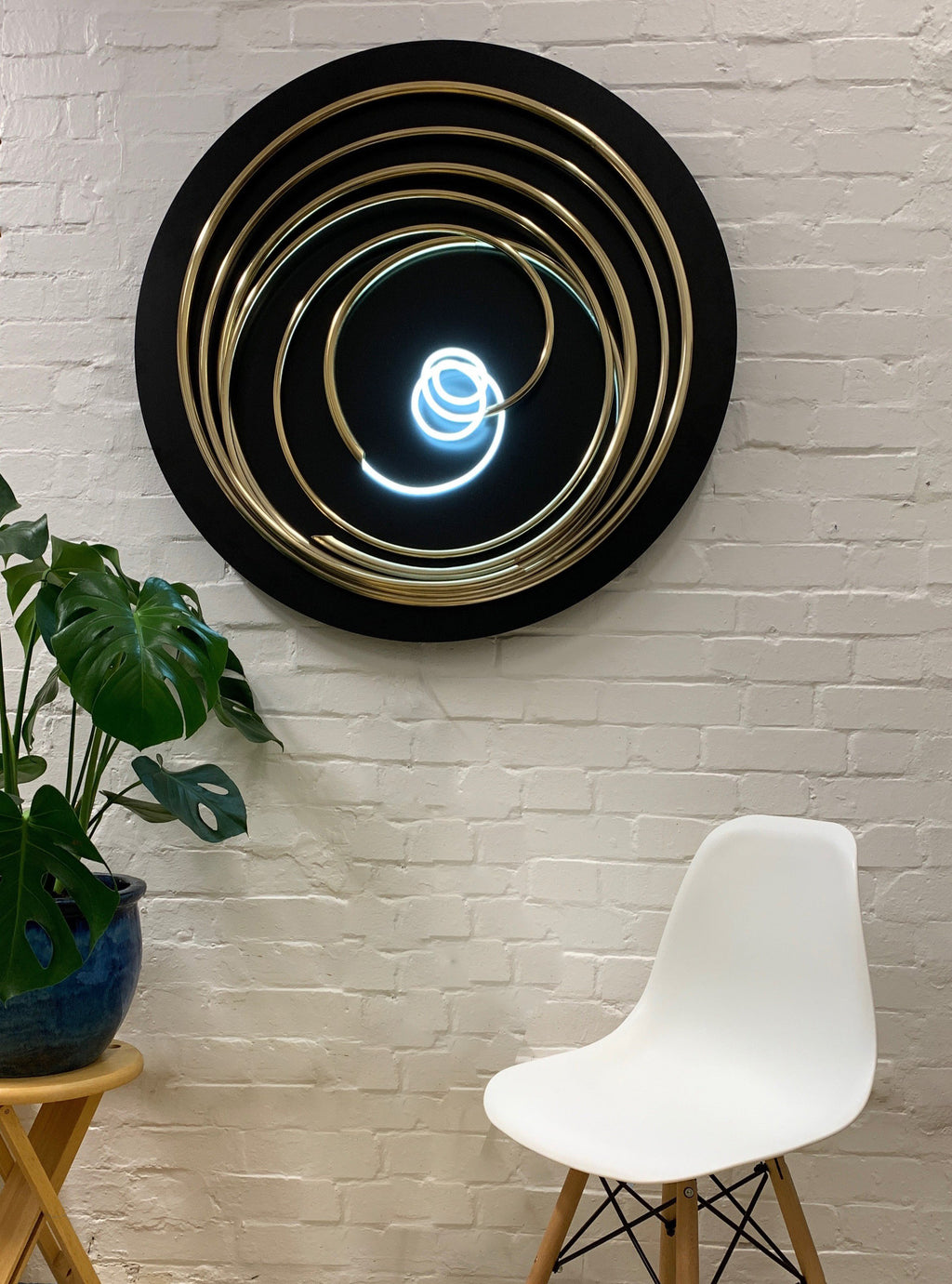 White Neon in Gold Spiral