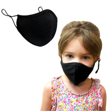 Load image into Gallery viewer, Purian Kids Face Mask, Reusable with Adjustable Ear Straps, Premium Multi Layer Antimicrobial Cotton Fabric, Fits Toddlers to Teens, Small | Black | 1-4 Pack