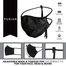 Load image into Gallery viewer, Purian Face Mask Adult XL for Men with Beards | Straps with Quick Fit Cord Lock Toggles for All Day Use